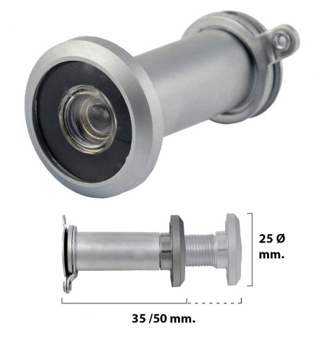 Mirilla Puerta 35-50 mm. Plateada Mate (Blister 1 pieza)