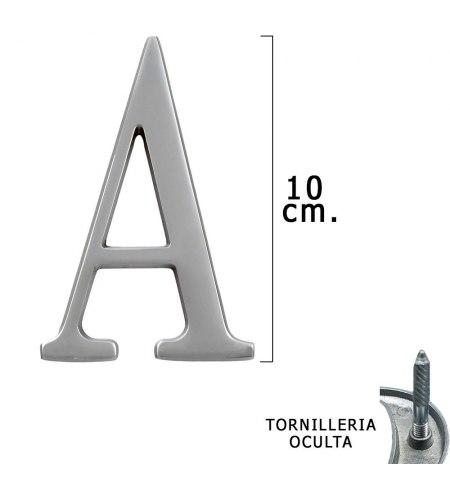 "Letra Metal ""A"" Plateada Mate 10 cm. con Tornilleria Oculta (Blister 1 Pieza)"