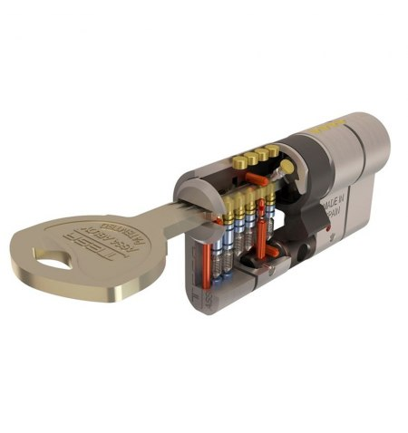 Cilindro Tesa Seguridad T70  30x40 Latonado Leva Larga