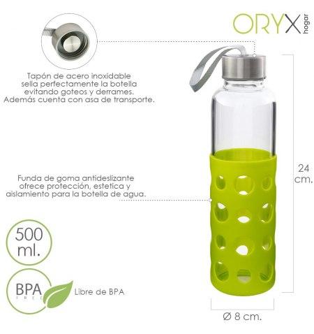 Botella Agua Fabricada En Cristal Con Funda De Goma y Tapon Antigotas, 500ml, Libre de BPA