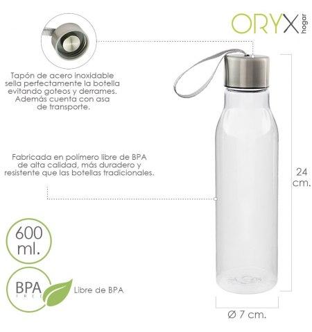 Botella Agua, Capacidad De 600 ML. Plastico Libre BPA, Con Asa, Tapon Acero Inoxidable.