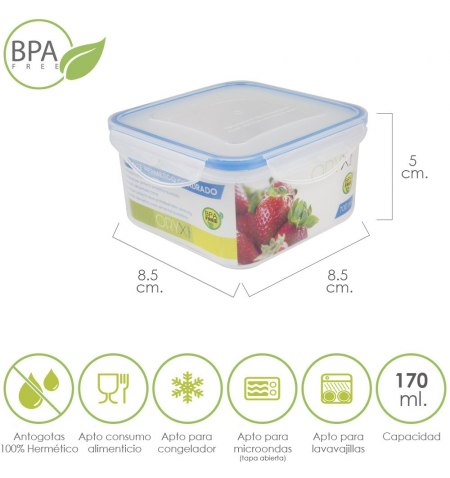 Recipiente Hermetico Plastico Cuadrado 170 ml.  8.5x8.5x5 (Alt.) cm.