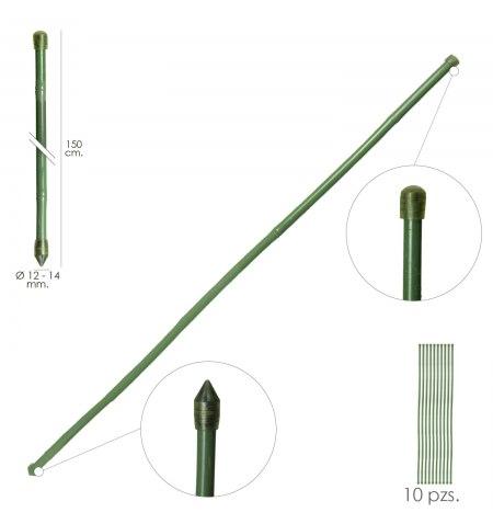 Tutor Varilla Bambú Plastificado Ø 12  - 14 mm. x   150 cm. (Paquete 10 Unidades)