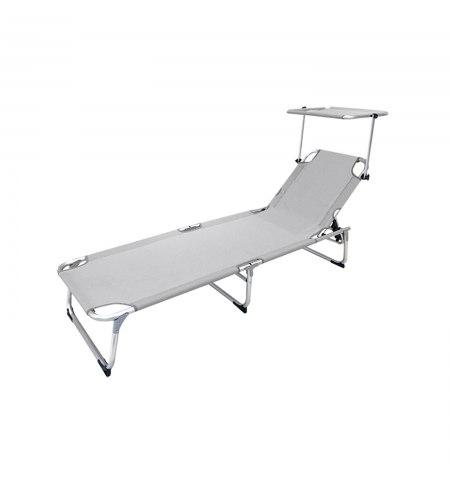 Tumbona Playa Aluminio Cama Con Parasol Color Gris 191x59x30 (alt) cm.
