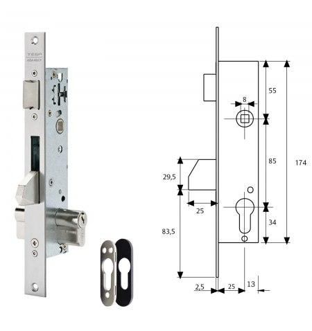 Cerradura Tesa 2210/25/3NI Con Escudo de Seguridad E190 Con Sistema Antipalanqueta