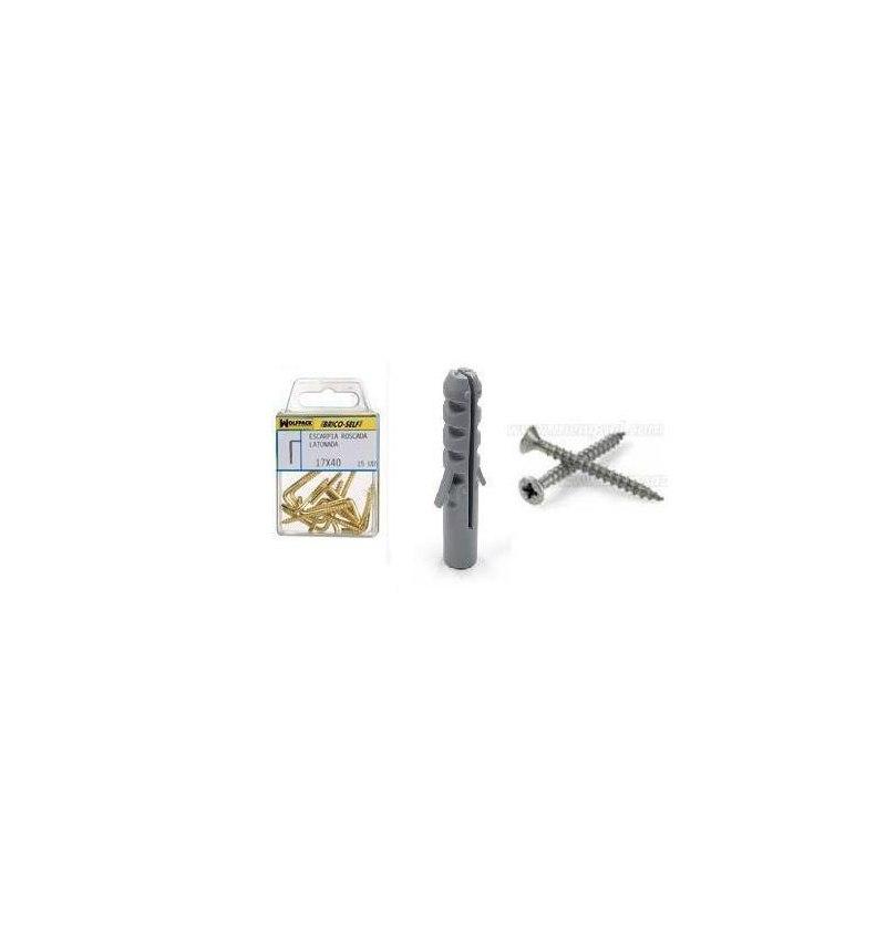 Taco Nº 5 Con Tornillos Cabeza Plana Zincada 3,5x30 mm.  12 unidades