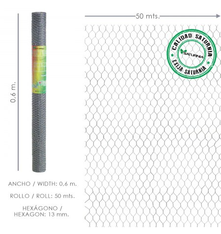 Enrejado Triple Torsion 13/  60 cm. Rollo 50 Metros Uso Domestico