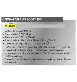 Cargabaterias Boost-130  Con Arrancador 12/24 V. 120-320 Amperios