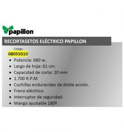Recortasetos Papillon 680 w. Hoja 610 mm.
