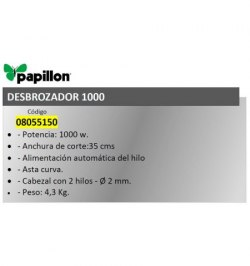 Desbrozador Electrico Papillon 350 mm. 1000 w