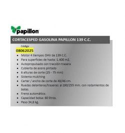 Cortacesped Gasolina Papillon 139 C.C. Autopropulsado