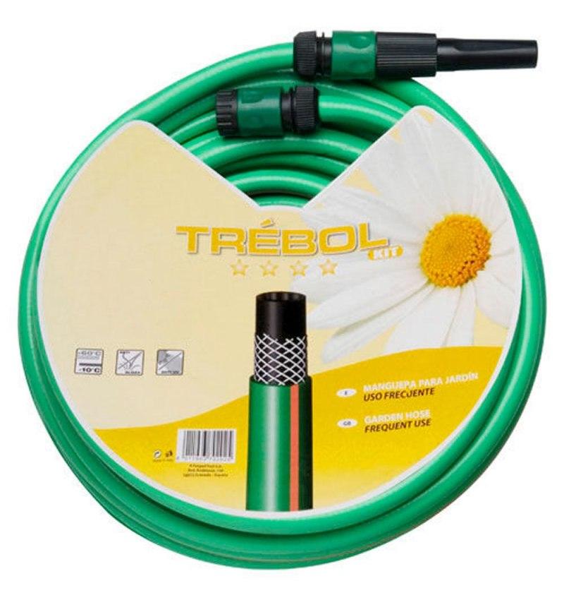"""Manguera Verde Trebol Trenzado 15 mm. - 5/8"""" Rollo 15 metros Con Accesorios"""