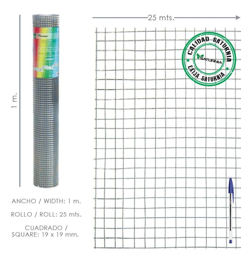 Malla Electrosoldada Galvanizada 25x25 / 1,60 / 100 cm. GD Rollo 25 metros.