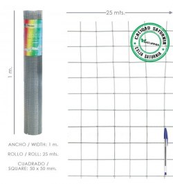 Malla Electrosoldada Galvanizada 50x50 / 2,00 / 100 cm. GA Rollo 25 metros