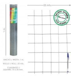 Malla Electrosoldada Galvanizada 75x50 / 1,80 / 100 cm. GA Rollo 25 metros