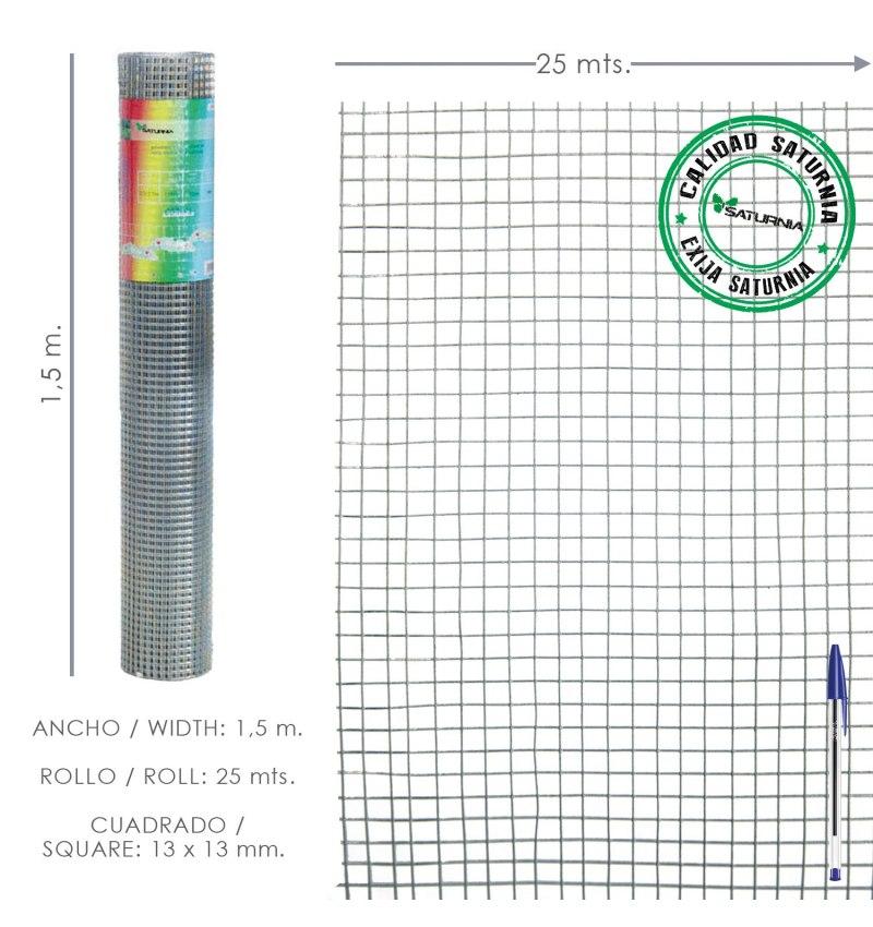 Malla Electrosoldada Galvanizada 13x13 / 150 cm. Rollo 25 Metros Uso Domestico