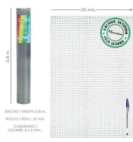 Malla Electrosoldada Galvanizada 6x6 / 80 cm. rollo 25 Metros Uso Domestico