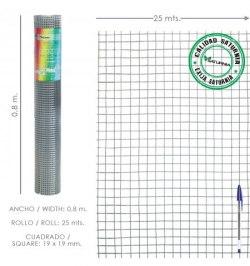 Malla Electrosoldada Galvanizada 19x19 / 80 cm. rollo 25 Metros Uso Domestico