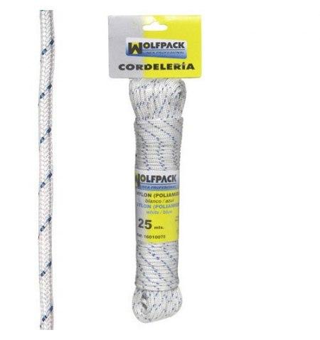 Cuerda Nylon Alta Tenacidad Blanca / Azul (Madeja 25 m.)