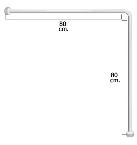 Barra Para  Cortina Ducha Universal Aluminio Blanco 80x80 cm.