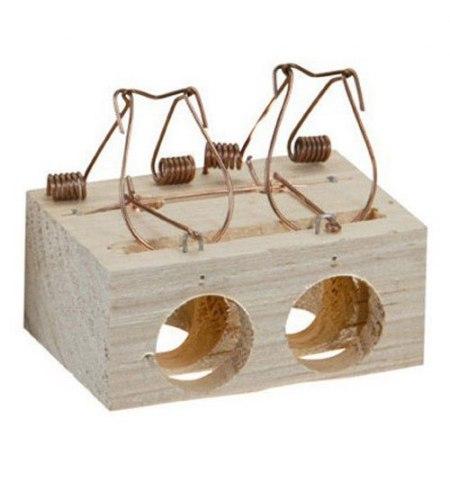 Trampa ratones madera 2 agujeros Ø 28 mm.