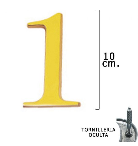 """Numero Latón """"1"""" 10 cm. con Tornilleria Oculta (Blister 1 Pieza)"""