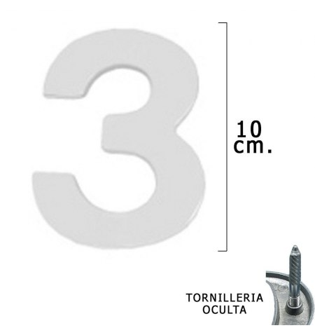 """Numero Metal """"3"""" Plateado Mate 10 cm. con Tornilleria Oculta (Blister 1 Pieza)"""