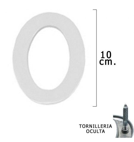 """Numero Metal """"0"""" Plateado Mate 10 cm. con Tornilleria Oculta (Blister 1 Pieza)"""