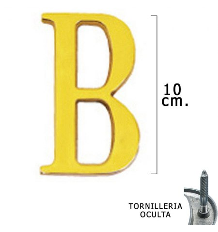"""Letra Latón """"B"""" 10 cm. con Tornilleria Oculta (Blister 1 Pieza)"""