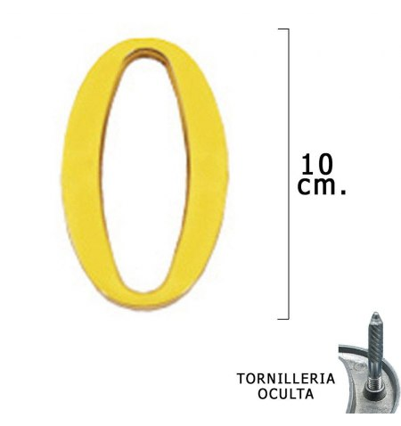 """Letra Latón """"O"""" 10 cm. con Tornilleria Oculta (Blister 1 Pieza)"""