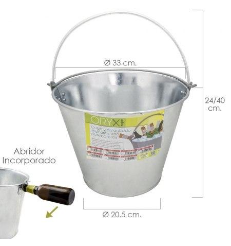 Cubo Zinc Metal Galvanizado Multiusos 12 Litros 33 x 20.5 x 24 (alt.) cm. con Abre Botellas